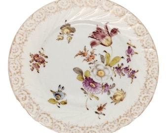 "Antique German Dresden Porcelain Wall Charger Plate Gold Rim Floral Tulip 7"""