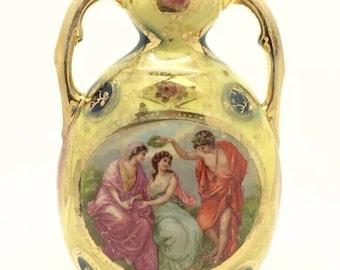 "Vintage Continental Porcelain Vase Royal Vienna Style Gilded 6.5"" 16cm"