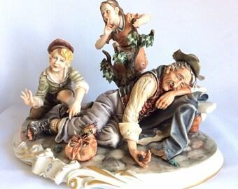 "Rare Large Capodimonte Porcelain Figure Rori Man Tramp Sleeping 14.5"" 37cm"