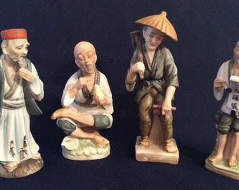 Japanese China Korean Porcelain Figure Figurine x4 Unmarked