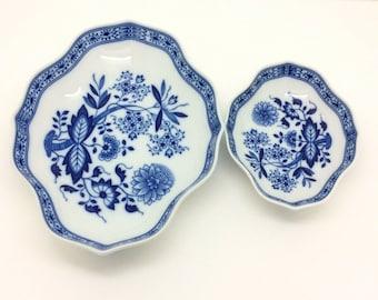 Hutschenreuther Blue White Onion Pattern Bowls German Porcelain Trinket Dish