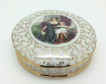"""Limoges France Porcelain PV Gold Gilded Trinket Bonbonniere Box Lid 5.5"""" 14cm"""