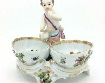 "Continental German Porcelain Putto Cherub Salt Holder Birds Insects Dresden 5"""