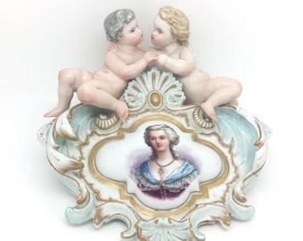 """Antique Continental Porcelain Mirror Top Cherub Plaque Lady Gilded 8"""" 20cm AF"""