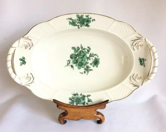 Rosenthal Porcelain Large Meat Soup Plate Bremen Chippendale Green Bloom 1950