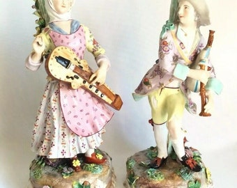Antique Continental Volkstedt Porcelain Musician Lady Hurdy Gurdy Man Figurine