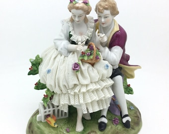 "Continental Unterweissbach Courting Couple Figurine Dresden Lace 7"" 18cm AF"