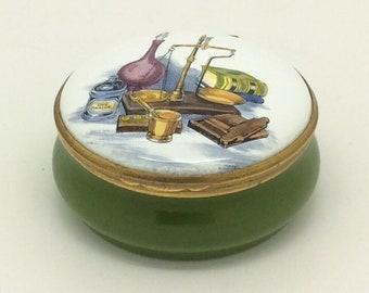 Porcelain Trinket Pill Box Pot Apothecary Pharmacy by Crummles Enamel