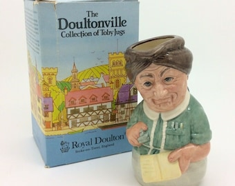 Royal Doulton Mrs Loan Librarian Doultonville Collection D6715 Toby Jug Vintage