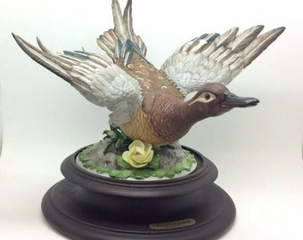 Rare Capodimonte Garganey Teal Duck Viertasca Porcelain Bird Animal Ornithology