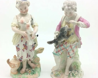 Antique Chelsea Derby Porcelain Figurine Shepherdess Lamb Shepherd Dog 1775 AF