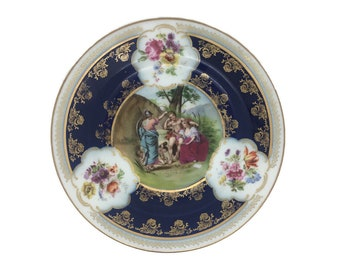 "Royal Vienna Beehive Mythological Scene Landscape Porcelain Saucer 7"" 18cm"