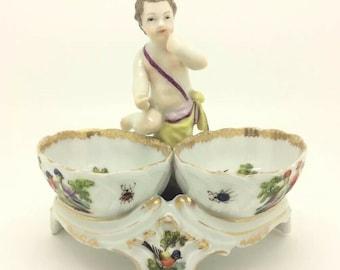 "Continental Salt Holder Birds Insects German Porcelain Putto Cherub Dresden 5"""
