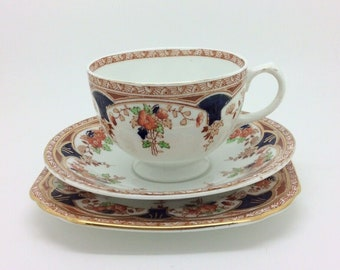 "Sutherland Imari Red Blue Teacup Saucer Trio English Collectors Porcelain 5.5"" 1"