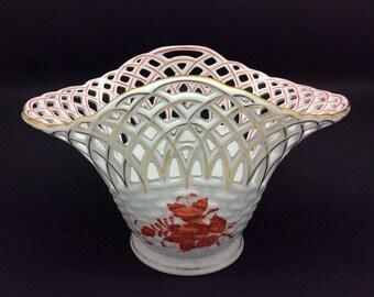 HEREND Porcelain Pierced Apponyi Basket Bowl Chinese Bouquet Design Excellent