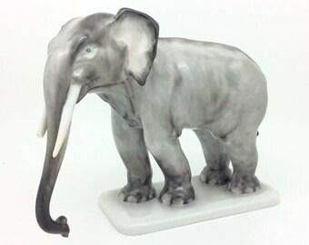 "Rare Herend Porcelain Figurine Grey Elephant ""Colonel Hathi"" 5365 6"" Herendi"