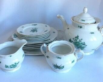 Rare Rosenthal Porcelain Cake Tea Service Bremen Chippendale Green Bloom Vintage