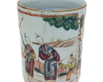 """Antique Oriental Chinese Porcelain Figural Mug Jar Pot 4.5"""" 11cm AF"""