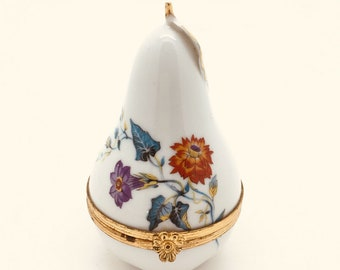 Limoges France Peint Main Handpainted Pear Hinged Trinket Box Floral 3.5""