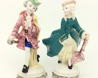 """Italy Rococo Courting Couple Continental Italian Porcelain Figurine 13cm 5"""""""