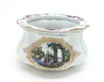 """Antique Meissen Porcelain Pot Watteau Scene Gilded 4"""" 10cm"""