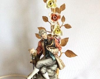 "Capodimonte Tyche Tosca Gentleman Dandy Figurine Porcelain Brass Lamp 12"""