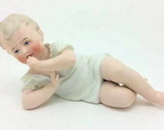 "Bisque Piano Baby German Porcelain Figurine AF 20cm 8"""