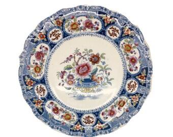 "Antique Indian Bridge Flow Blue Dinner Plate S Alcock Ironstone Floral 8.25"""