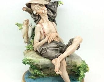 "Capodimonte Cappe Works of Art Fisherman Porcelain Figurine Group Vintage 9.5"""