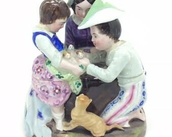 "Antique Victorian Staffordshire Inkwell Children Cat Kittens Ink Stand 5"" 13cm"