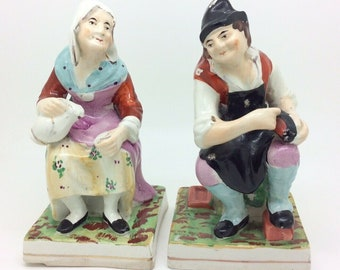 Antique 19th Century Staffordshire Figurine Pair Cobbler and his Wife 17cm 6.7""