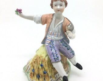 "German Dresden Potschappel Porcelain Figurine Summer Harvest Boy 5"" 13cm"