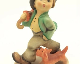 Vintage Hummel Goebel TMK5 5 Strolling Along Boy in Hat Umbrella Puppy Figurine