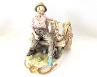 Vintage Italian Porcelain Capodimonte Figurine Man on bench M Alparone Figure
