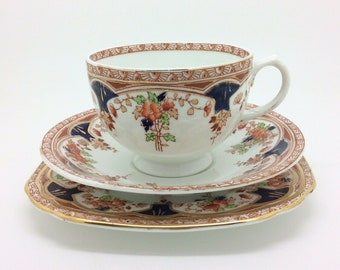 "Sutherland Imari Red Blue English Collectors Porcelain Teacup Saucer Trio 5.5"" 3"