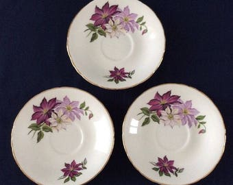 Delphine Bone China Floral Saucer Plate x3 for Spare / Collectible