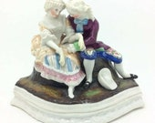Antique Victorian Staffordshire Figure Inkwell Courting Couple Ink Stand 5 quot 13cm