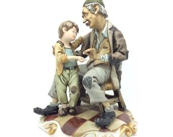 Vintage Italian Porcelain Capodimonte Figurine Boy and Father Porcellana