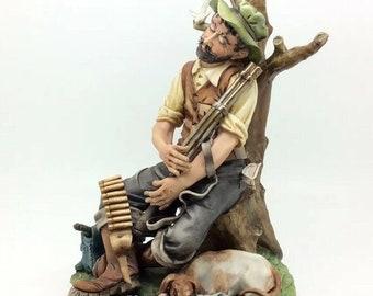 Vintage Italian Porcelain Capodimonte Porcelain Hunter Man Dog Figure Cortese 49