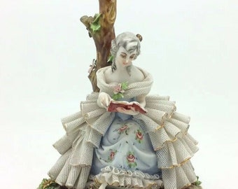 Lace Dress Girl Reading Book Rare Italian Capodimonte IPA Porcelain Figurine 7""