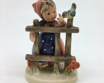 Vintage Porcelain Hummel Goebel Figurine Signs of Spring Girl at Fence TMK4 203