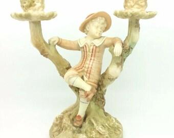Antique Candelabra Ivory Blush Royal Worcester Porcelain Hadley Boy Tree 1892