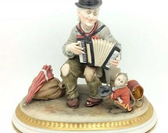 Rare Capodimonte Musician Accordion Monkey Bruno Merli Italian Works of Art
