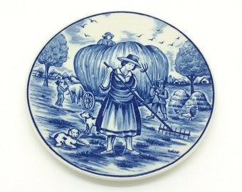 Royal Delfts Blauw Handwerk Haymaking Blue Collectors Porcelain Delftware Plate