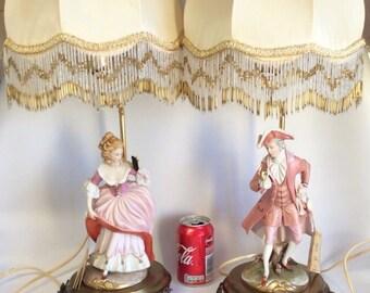 Rare Italian Capodimonte Bedin Figurine Porcelain Brass Lamp Rococo Style