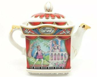 "Sadler Staffordshire Teapot Romeo Juliet William Shakespeare 4445 Savoy 6.5"""