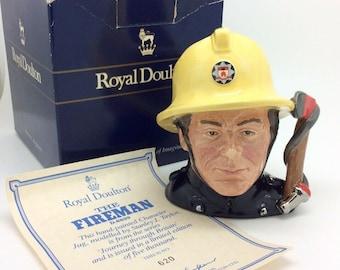 Royal Doulton Small Character Toby Jug Fireman D6839 Certificate Vintage Ltd Ed