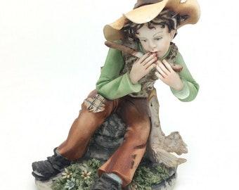"Italian Porcelain Capodimonte Boy with Flute Figurine Cortese 211 6"" 15cm"