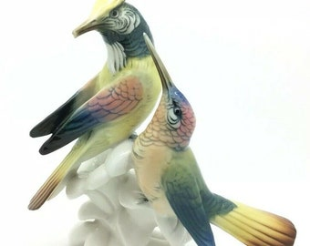 Large Vintage Karl Ens Bird Colibri Hummingbirds Porcelain Figure Ornithology