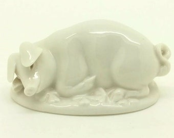 Small Lucky Pig Figurine Nymphenburg Porcelain Animal Four Leaf Clover For Luck
